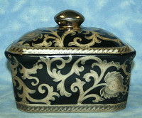 Ebony Black and Gold Lotus Scroll, Luxury Handmade Reproduction Chinese Porcelain, 7 Inch Decorative Container, Style 77