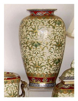 Chinese Red and Fern Green - Luxury Handmade Reproduction Chinese Porcelain - 12 Inch Tabletop | Mantel Vase Style 807