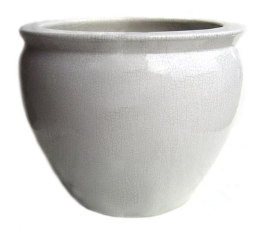 White Ivory Decorator Crackle - Luxury Handmade Chinese Porcelain - 12 Inch Fish Bowl   Planter - Style 35