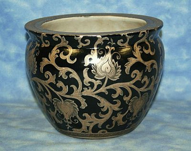 Ebony Black and Gold Lotus Scroll - Luxury Handmade Reproduction Chinese Porcelain - 12 Inch Fish Bowl | Planter Style 35