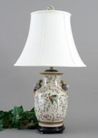 Avian & Floral Pattern - Luxury Hand Painted Porcelain - 28 Inch Tabletop Oriental Lamp