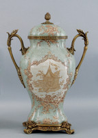 Celadon Serenity Pattern, Luxury Hand Painted Porcelain and Gilt Bronze Ormolu, 17 Inch Urn | Covered Jar