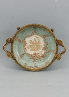 Celadon Serenity Pattern, Luxury Hand Painted Porcelain and Gilt Bronze Ormolu, Pair of 6 inch Coasters | Small Dishes