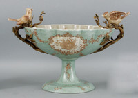 Celadon Serenity Pattern - Luxury Hand Painted Porcelain and Gilt Bronze Ormolu - 17 Inch Footed Compotier Bowl