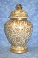Ivory and Gold Lotus Scroll Arabesque - Luxury Handmade Reproduction Chinese Porcelain - Customizable 14 Inch Covered Temple Jar Style 1