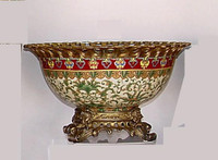 Chinese Red and Fern Green - Luxury Handmade Reproduction Chinese Porcelain and Gilt Brass Ormolu - 14.5 Inch Decorative Display Bowl | Centerpiece Style F78