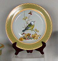 Bluebird Nature Scene, Luxury Handmade Reproduction Chinese Porcelain, 10 Inch Decorative Display Plate Style 83