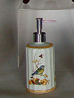 Bluebird Nature Scene, Luxury Handmade Reproduction Chinese Porcelain, 6 Inch Lotion or Soap Dispenser, Style G094 or N094