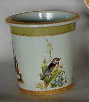 Bluebird Nature Scene, Luxury Handmade Reproduction Chinese Porcelain, 10 Inch Wastebasket Style 922