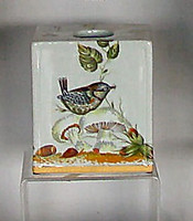 Bluebird Nature Scene, Luxury Handmade Reproduction Chinese Porcelain, 6 Inch Boudoir - Boutique Tissue Box, Style M422
