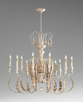 French Country Style - Wrought Iron and Wood Ten Light Chandelier - Distressed White Finish