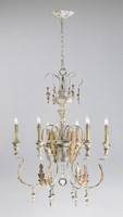 French Country Style - Wrought Iron and Wood Six Light Chandelier - Distressed White Finish