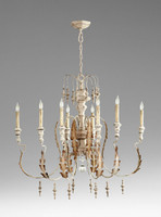 French Country Style - Wrought Iron and Wood Eight Light Chandelier - Distressed White Finish