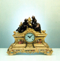 A Porcelain, Victor Hugo, d'Oro Ormolu - Imperial Mantel Clock - Handmade in Italy - French Gold, Polychrome Patina - Tabletop Reproduction 14.25t X 4.75d X 16.92w