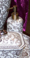 White and Sterling Silver Lotus Scroll, Luxury Handmade Reproduction Chinese Porcelain, 6 Inch Lotion or Soap Dispenser, Style G094 or N094