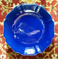 Cobalt Blue Decorator Crackle, Luxury Handmade Reproduction Chinese Porcelain, 8 Inch Decorative Display Plate Style 811