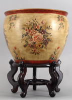 Mixed Bouquet, Luxury Hand Painted Porcelain, 16 Inch Fish Bowl | Planter