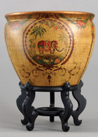 Majestic Elephant, Luxury Hand Painted Porcelain, 16 Inch Fish Bowl | Planter