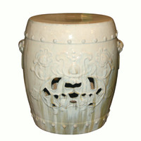 A Finely Finished Ceramic Garden Stool, 19 Inch, Antiqued Ivory Finish