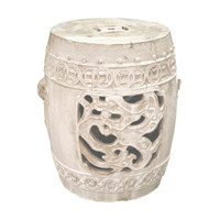 A Finely Finished Ceramic Garden Stool, 21 Inch, Antiqued Ivory Finish
