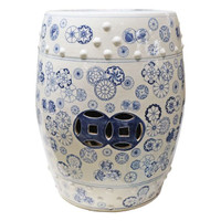 A Finely Finished Ceramic Garden Stool, 17 Inch, Classic Blue and White Pattern