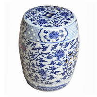 A Finely Finished Ceramic Garden Stool, 17 Inch, Blue and White Lotus Flower Pattern