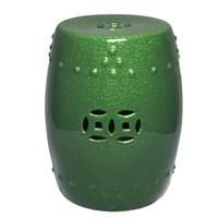Finely Finished Ceramic Garden Stool, 16 Inch, Polished Jade Green Crackle Finish