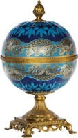 A Luxe Life Finely Finished Cut Crystal Glass and Gilt Bronze Ormolu, 13 Inch Covered Globe Container