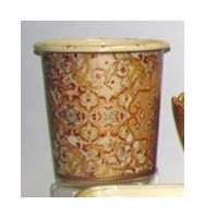 Burgundy Medallion and Gold, Luxury Handmade Reproduction Chinese Porcelain, 10 Inch Wastebasket Style 922