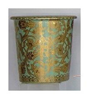 Celadon Green and Gold Arabesque, Luxury Handmade Reproduction Chinese Porcelain, 10 Inch Wastebasket, Style 922