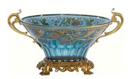 A Luxe Life Finely Finished Cut Crystal Glass and Gilt Bronze Ormolu, 11 Inch Dish Centerpiece Bowl
