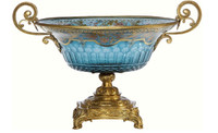 A Luxe Life Finely Finished Cut Crystal Glass and Gilt Bronze Ormolu, 15 Inch Dish Centerpiece | Pedestal Bowl