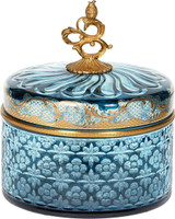 A Luxe Life Finely Finished Cut Crystal Glass and Gilt Bronze Ormolu, 8 Inch Round Covered Box