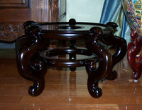 Luxury Chinese Porcelain, 15.5 Inch Seat, High Wooden Stand for 24 Inch Fish Bowl