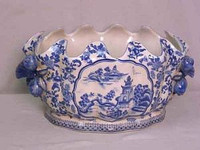 A Blue and White Pagoda - Luxury Handmade Reproduction Chinese Porcelain - 16 Inch Scalloped Shell Foot Bath | Centerpiece Planter - Style C591