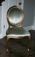A Transitional Oval Back - 37.25 Inch Handcrafted Reproduction French Dining | Accent Side Chair - Light to Medium Green Velvet Upholstery 050 - Metallic Antique Gold Luxurie Furnitue Finish NF11Customer Photo Provided on this completely Custom Chair