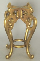 Stands for Porcelain, 22 Inch Tall Golden High Wooden Stand, 9.25 Inch Seating Surface