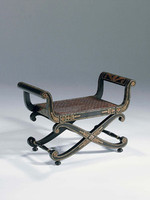 Hardwood Hand Made - 32 Inch Accent Bench - Black Hand Painted Finish with Gold Accents - Cane Seat