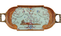 Fantasia Pattern, Luxury Hand Painted Chinese Porcelain and Gilt Brass Ormolu, 2.5t X 19L X 8d, Decorative Tray