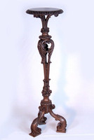 Oversized Carved Torchere, 45 Inch Pillar Candlestick, Traditional Bronze Finish