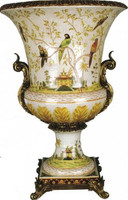 Pristine Parrots Pattern, Luxury Hand Painted Porcelain and Gilt Bronze Ormolu, 30 Inch Trophy Cup Urn   Vase