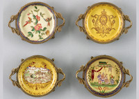 Coasters | Group III, Luxury Hand Painted Porcelain and Gilt Bronze Ormolu, Set of Four