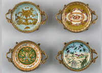 Coasters | Group I, Luxury Hand Painted Porcelain and Gilt Bronze Ormolu, Set of Four