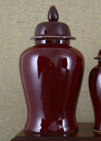 Solid Oxblood, Luxury Hand Painted Porcelain, 24 Inch Temple Jar
