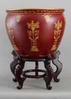 Pedestal of Fruit Pattern, Luxury Hand Painted Porcelain, 20 Inch Fish Bowl | Planter