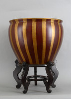 Red and Gold Vertical Stripes, Luxury Hand Painted Porcelain, 18 Inch Fish Bowl | Planter