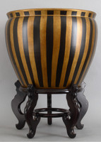 Black and Gold Vertical Stripes, Luxury Hand Painted Porcelain, 20 Inch Fish Bowl | Planter