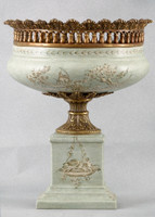 Celadon Toile Pattern, Luxury Hand Painted Porcelain and Gilt Bronze Ormolu, 14 Inch Pedestal Half Vase