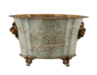 Celadon Toile Pattern, Luxury Hand Painted Porcelain and Gilt Bronze Ormolu, 16 Inch Oval Planter | 2827