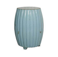 Chinese Hand Made, 21 Inch Drum   Barrel Stool, Accent Table, Distressed Aqua Finish